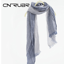 10 Colors CN-RUBR Brand Women's Long Scarf Warm Soft Neck Striped Linen Scarf Shawl New Spring Arts Fold Scarves for Female(China)