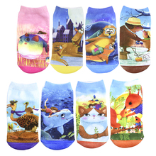 12 Pair/lot Summer Breathable Cool Children's Kids Socks 3D Printing Baby Sock Cotton Cartoon for Girls Boys 2-10T(China)
