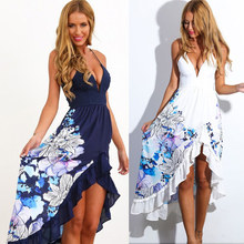 Women's Clothing sexy Sling summer sundresses 2017 New Arrivals fashion v-neck print beach Women dress