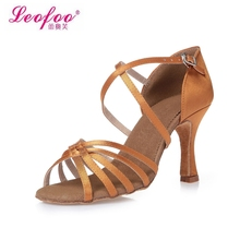 Women's Dance Shoes Ballroom/Latin Shoes Party shoes Heels Chunky Heel 8.5cm Light brown satin Factory direct sale CL36(China (Mainland))