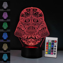 3D Illusion Led Table Lamp Star Wars Darth Vader Mask Black Knig 7Colors Touch Baby Nightlight Decoration Bedroom Desk Lamp