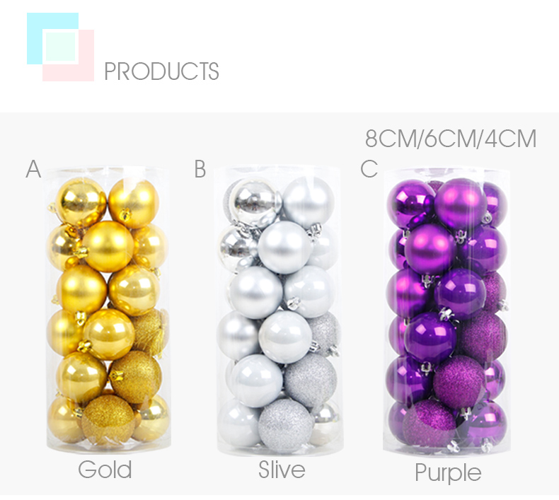 04 inhoo 24PCSset Christmas ornament 468cm Christmas Tree Balls Baubles Xmas for Home Party Colorful Wedding Decoration Supplies