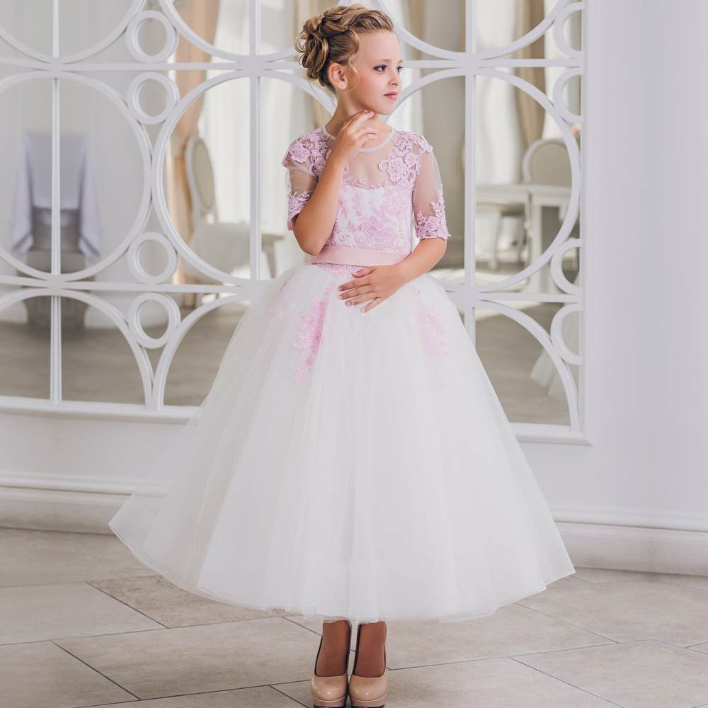 2017 New Arrival Half Sleeves Flower Girl Dresses O-neck Ball Gown Lace Formal Back Bow First Communion Pageant Gown Custom Made