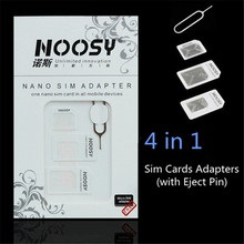 Sim Cards Adapters Micro Sim Adapter Noosy Nano to Sim Card Adptor + Eject Pin Key Retail Package for iPhone 4/5/6/6s All Mibile