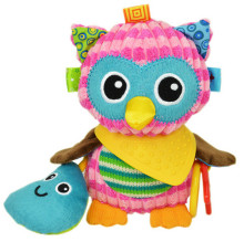 sozzy Cute Plush owl Toy Comfort Baby Infant Towel with Sound Paper and Teether Soft  Stuffed Toys Playmate Doll