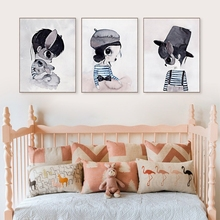 Nordic Style Rabbit Girl Boy Canvas Art Print Painting Poster , Ins Cute Cartoon Rabbit Wall Pictures for Kids Room Decoration(China)