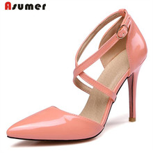 Asumer 2017 Summer shoes high heels pointed toe buckle party shoes pumps big size 31-47 solid pu fashion elegant shalllow women