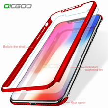 OICGOO Luxury 360 Degree Full Cover Cases For iPhone X 8 7 6 6s Plus Case With Glass For iPhone 8 X 10 7 6 6S Phone Case Coque(China)