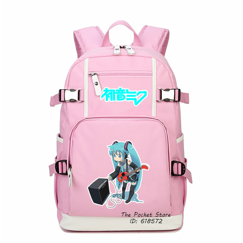 High Quality Fashion Women Backpack Hatsune Miku Printing Backpack Kawaii School Bags Canvas Laptop Backpack Girl Travel Bags<br>