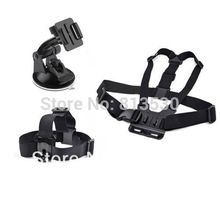 Free Shipping.GoPro Accessories.Chest Strap +Head Strap+Suction Cup for Gopro Hero 4 3+ 3 2 SJ4000 SJ5000 SJ6000 Xiaomi Yi(China)