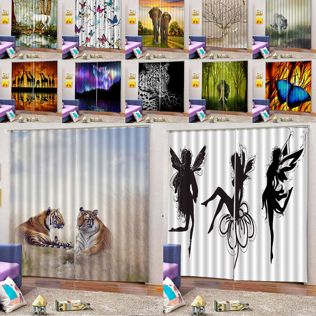 2 Panels 3D Print Window Curtain Animal Printing Blackout Curtains Darkening Drape with Curtain Hooks and Rings