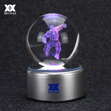Avengers Hulk 3D Crystal Ball Lamp Desktop Decoration Glass Ball Night Light LED Colorful Rotate Base Funny Gift HUI YUAN Brand