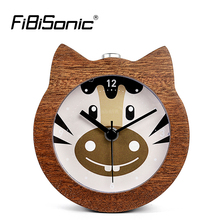 FiBiSonic Chinese Zodiac Animal Wooden Snooze Night Light Horse Alarm Clock Wood Desktop Needle Table Clocks Saat Despertador(China)