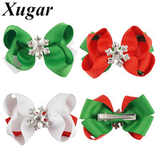 4 Pieces/lot 3'' Mini Grosgrain Ribbon Hair Bows for Children Girls Christmas Gift Hairpins with Snowflake Hair Accessories