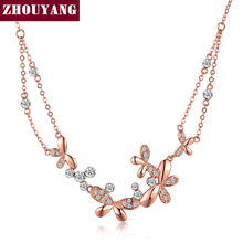 ZHOUYANG Top Quality ZYN038 Butterfly Love Flowers Rose Gold Color Pendant Necklace Jewelry Austrian Crystal Wholesale