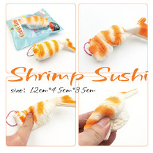 Squishy Shrimp Sushi Slow Rising Jumbo Food Toys For Kitchen Decoration Mobile Phone Charm Straps Kids Toys Sushi Squishy Toys(China)