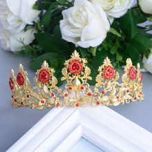 Restore Ancient Ways Red Crystal Jewelry Bridal Tiara Golden Baroque Crown Marry Wedding Hair Accessories Princess Headdress(China)