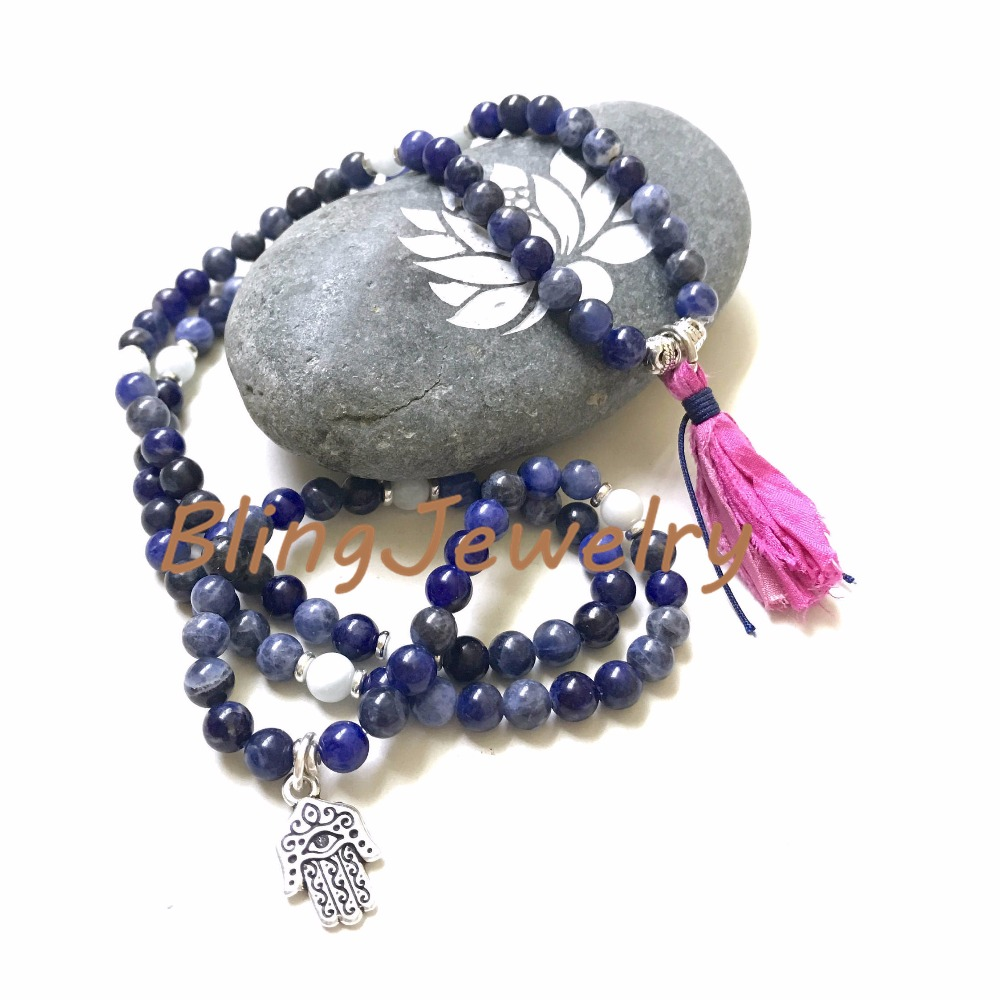 N17082543 Sodalite Mala Bead Wrap Bracelet, Mala Necklace For Self Acceptance, Aquamarine Mala, 108 Mala Bead On Stretch Cord, Sari Silk Tassel Mala6 (10)