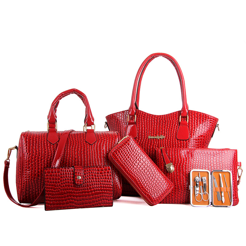 Free shipping High-end Fashion Lady crocodile pattern PU Leather Woman messenger bags Lash handbags women 6 Pcs Picture package<br><br>Aliexpress
