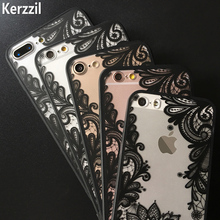 Kerzzil For iphone 7 6 Fashion Lace Flower Phone Case For iPhone 7 6 6S Plus 5 5s SE Capa Lotus Floral Back Cover Cartoon Coque(China)