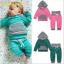 Retail 2017 NEW baby boy and girl Long sleeves Pure cotton pink light green the infant child of hooded two sets manufacturer(China)