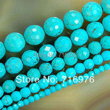 wholesale Faceted Blue Turquoises Round Beads For Jewelry Making 15.5inch/strand 4 6 8 10 12 14mm pick Size-F00042(China)