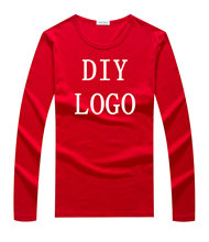 Custom logo long sleeve shirt plain LOGO DIY tshirt customized pattern print embroidery design your owner t-shirt top tee shirts