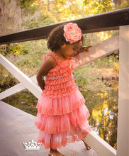 Girl Pageant Dress Dark Pink Children Girl Lace Petti Dresses Girl Casual Dress Children Clothes