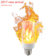 2017 New arrival E27 E14 Led Flame Lamps LED Flame Effect Light Bulb 85~265V Flickering Emulation Fire Lights 9W Decorative Lamp(China)