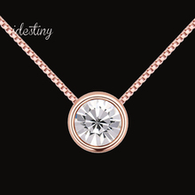 austrian crystal necklace for wedding party new simple round solitaire design rose gold color plated jewelry gift for girls(China)