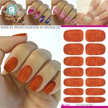 2pcs/lots Real Hot Sale Nails Water Transfer Color Leather Texture Manicure Full Sticker Nail Jewelry K5647(China)