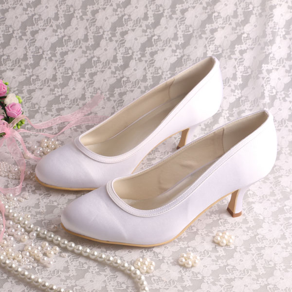 Wedopus Medium Heel Autumn Shoes Plain Upper White Satin Pumps Dropshipping<br>