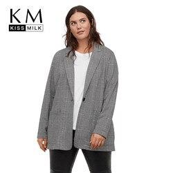 Kissmilk европейский и американский стиль простой темперамент ретро плед большой размер тонкий лацканы пиджак на одной пуговице