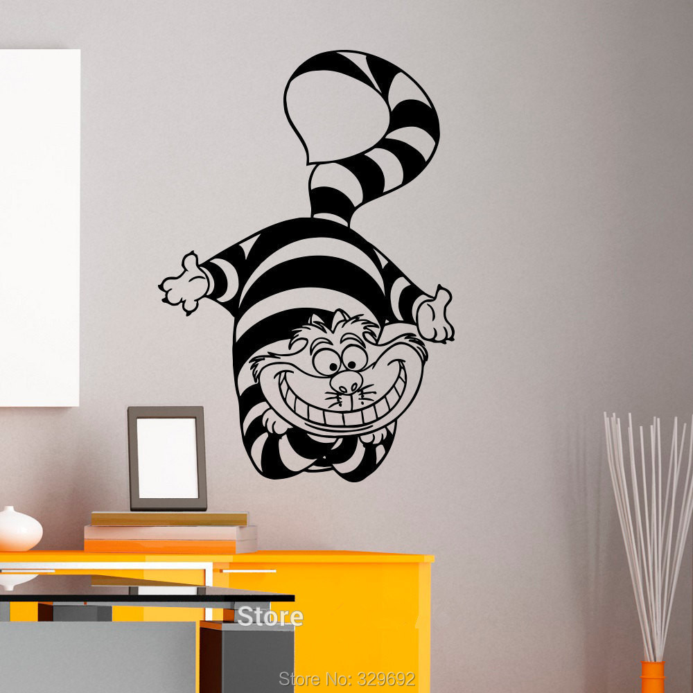 compare prices on cheshire cat wall online shopping buy low price alice in wonderland cheshire cat wall art sticker decal home diy decoration wall mural removable bedroom