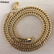 DrBonham 10MM 60cm Curb Cuban Gold Filled Necklace MENS Boys Chain High Quality Jewelry Gift