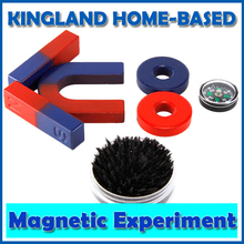 Magnetic Teaching Tool Kit Horseshoe Magnet U Type And Compass With Two Rings Two Bar Magnet / Toy Magnet