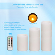 Set of 3 Remote Control Led Pillar Flameless Candle,White,4,6,8 Inch Height(China)