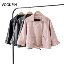 Buy VOGUEIN New Womens Fashion Sweet Soft Faux Leather Motorcycle Jacket Lapel Short Coat Outerwear Wholesale for $30.35 in AliExpress store