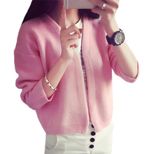 Knit Cardigan Coat Short Sweater Women Loose V-neck Solid Color Baseball Uniform Jacket Sweaters Clothing Vestidos LXJ373