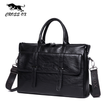 CROSS OX Casual Style Mens Briefcase Fashion Business Handbag 15 Inch Laptop Bag Artificial Leather Shoulder Bag Black HB571M(China)