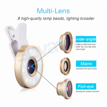 6 in 1 LED Lighting 185 Fisheye 0 65X Wide Angle Macro font b lenses b