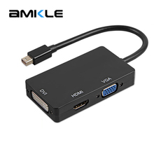 Amkle Mini DP to HDMI DVI VGA Adapter Cable 3 In 1 Mini DisplayPort 1080P Video Adapter Converter For iMac Apple MacBook Pro Air