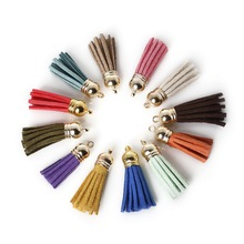 Hot Sale 10Pcs 35x38mm Mixed Suede Leather Jewelry Tassel For Key Chains/ Cellphone Charms Top Plated End Caps Cord Tip