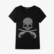 New Pink skull crystal women t shirt 2017 Fashion short sleeve women tee shirt plus size diamond skull summer top tees HOT(China)