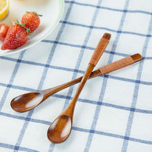 2pcs Long Handle Coffee Spoon Small Wooden Spoons Coffee Stirrer Mixing Spoon for Coffee Tea Wood Honey Spoon Tea Accessories(China)