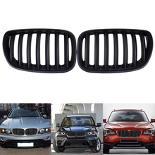 2Pcs High Quality Matte Black Front Mesh Grille Facelift Hood Kidney Grills For BMW X5 E53 2003-2007 Facelift Car Styling
