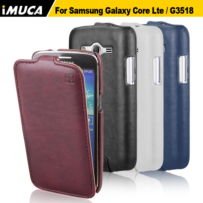 iMUCA For Samsung Galaxy Core Lte G3518 g386f Core 4G cases covers PU Leather Flip cover retail mobile phone cases packaging(China (Mainland))