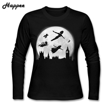 Long Sleeve Tees Woman Full Moon Over London T Shirts Women Girl T-shirts 100% Cotton Clothes Promotion Tops(China)
