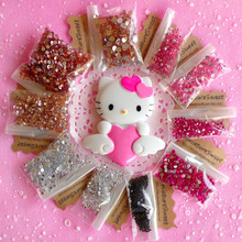 3D Bling Big Kawaii Heart Hello Kitty Cabochon with Rhinestones DIY Cell phone Deco Kit for iphone 7 plus case for samusng case