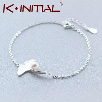 Kinitial 1Pcs Fashion Feather Leaves Bracelets&Bangles 925 Silver Ginkgo Pearl Bracelet Jewelry Femme Wrist prata 925 masculino